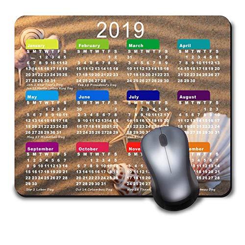 Gaming Mauspad Custom Mousepad Design, komfortable Gummiunterseite, Rutschfest für Computer Laptop, personalisierbar, rechteckig, 2019 Kalender Meeresmuscheln und Seestern