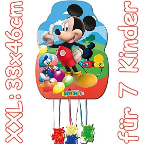 Mickey Mouse: XXL-Pinata Zugpinata für Kindergeburtstag | Größe: 33x46cm | Piñata Mexiko Kinder Geburtstag Kindergeburtstag Spiele Spass Disney
