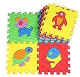 Lukis 1 Packung 10-teiliges Kinder Matte Puzzlematte Bodenmatte Spielmatte Spielteppich Schaumstoffmatte Bunt (Tiere)