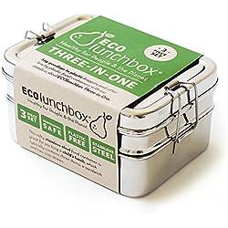 Ecolunchbox - Contenitore per pranzo 3 in 1, in acciaio INOX
