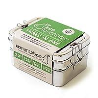 Contenitore per il pane in acciaio INOX-sui set-rettangolare di ECOlunchbox Box il set di 3contenitore per il pane in acciaio inossidabile è composto da due dosi pane rettangolare in acciaio inossidabile alimentare la posta e con 2later...