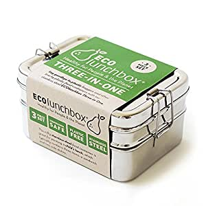 ECOlunchbox Three-in-One, 3-teilige Brotdose aus Edelstahl, Lunchbox, Bento Box