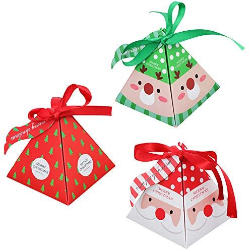 Geschenkboxen set weihnachten, 36 Stück karton Deko Plätzchen Geschenkbox mit 36 Stück Bogen und 20 Stück Etiketten, DIY faltboxen Geschenk Kuchen Boxen Xmas Party Taschen Geschenk Party Dessert