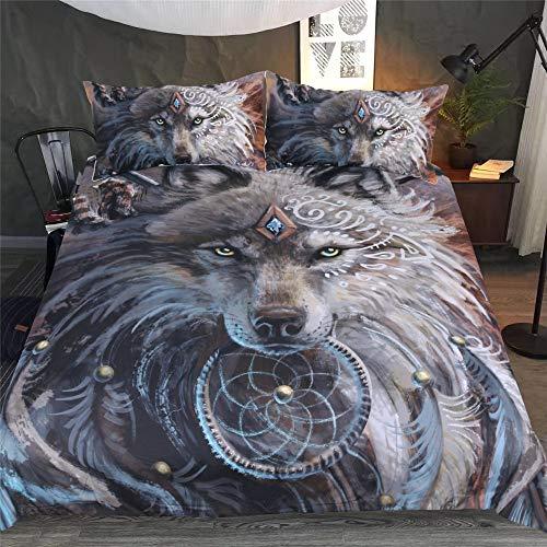 DXSX Bettwäsche Bettbezug 3D Wolf Theme Muster Bettbezug und Kissenbezug Easy Care Kinder Jungen Teenager Männer Bettwäsche (Grauer Wolf, 135x200cm) -