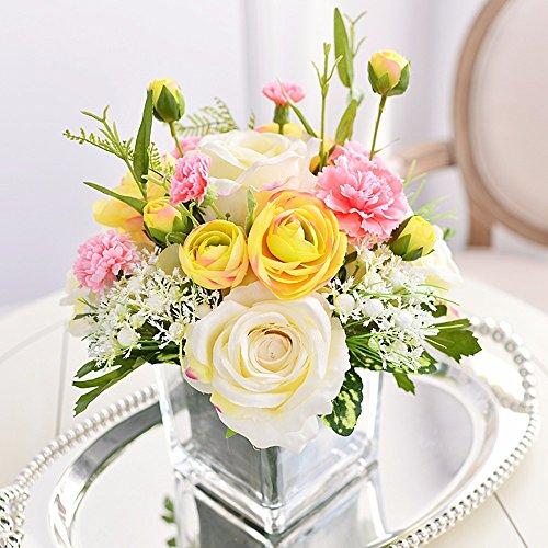 SituMi Emulación de flor artificial jarrón de cristal rosa flores de