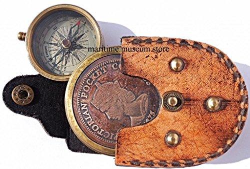 Superbe style Vintage Style victorien poche coulissante Compas avec étui en cuir. c-3093