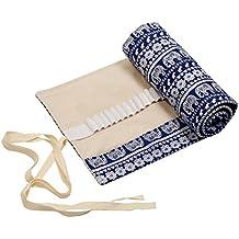 72 Bleistift Wrap,LANMOK Tragbar Federmäppchen Reise Stiftehalter Buntstifte Organizer Thai-Elefant Roll-up Mäppchen Tasche für Schule Büro Art Kraft