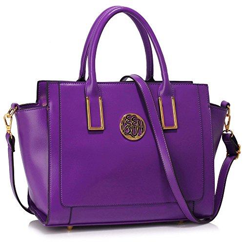 Meine Damen Umhängetaschen Frauen Große Designer Handtaschentoteschulterkunstleder Modische Taschen C - Lila