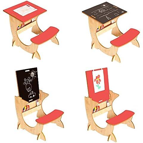 Little Helper ArtStation 4-en-1para escritorio/pizarra y caballete (3–6años, arce/Natural/Rojo)