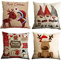 Freeas Set of 4 Christmas Pillow Cover Cotton Linen Decorative Print Christmas Tree,Christmas Deer,Santa Claus, Lovely Boy Sofa Cushion Cover for Home Christmas Favor, 18 by 18 Inches