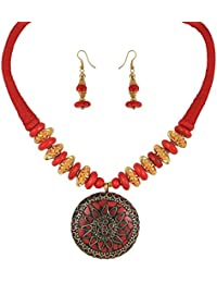 Arittra Alloy Tribal Design Red Golden Choker Necklace In Antique Finish For Girls And Women