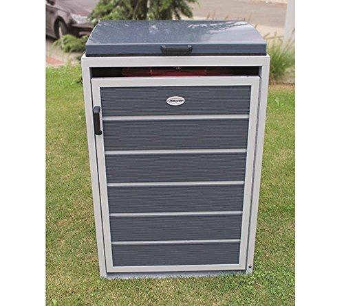 Prewood WPC Mülltonnenbox, Mülltonnenverkleidung für 1x 240l Mülltonne grau // 86x76x127 cm (LxBxH) // Gerätebox, Gartenbox & Mülltonneneinhausung - 2