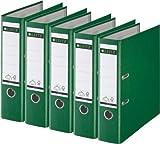 5er Sparpack Leitz 1010 Qualitäts-Ordner Plastik breit, mit patentierter 180º-Präzisionsmechanik (grün)