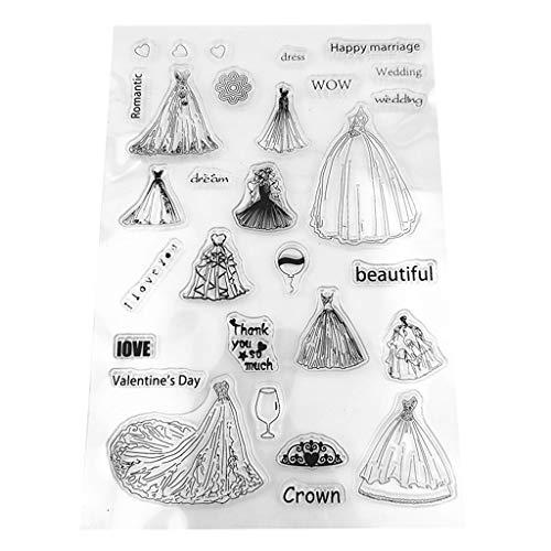 Nankod DIY verschiedene Hochzeitsmuster, transparenter Siegel und transparenter Siegelkarten-Clipbook-Album, Dekorative Silikon-Stempel-Papier