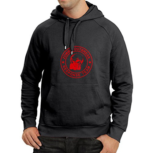 "N4117H Hoodie Funny t-shirt ""Zombie outbreak response team"" Mens Nero Rosso"