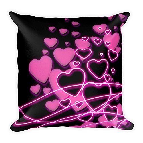 Neon Pinke Herzen auf Schwarz, großes, flauschiges Kissen 45x45 cm, handmade in EU
