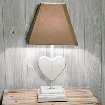 42cm Vintage Shabby Chic Rustic Wooden Heart Lamp with Brown Shade