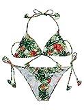 L'AMORE Damen Blumen Bikini Set Neckholder Slide Sexy Triangel Rückenfreie Strapped Pattern Printed String Badeanzug Bunt Hawaii Bademode Swimsuit