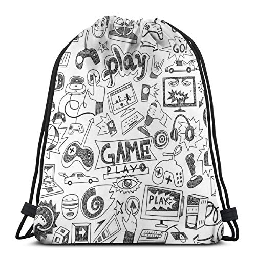 Drawstring Shoulder Backpack Travel Daypack Gym Bag Sport Yoga,Monochrome Sketch Style Gaming Design Racing Monitor Device Gadget Teen 90s,5 Liter Capacity,Adjustable. Out Lcd-monitor
