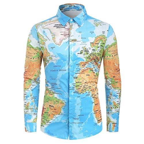 BHYDRY Männer Casual World Map Print mit Knopf Shirt Top Bluse(XXX-Large,Blau - Lurex Western Shirt