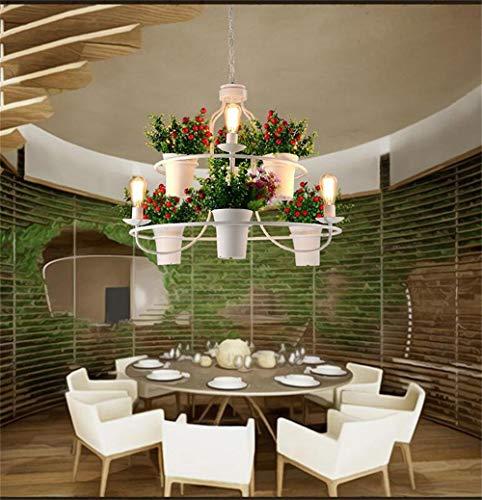 Rost Kleidungsstück (MJK Pendelleuchten, Amerikanische Kreative Persönlichkeit Blumentopf Kronleuchter Wohnzimmer Schlafzimmer Balkon Kleidungsstück Pflanze Blumen Dekoriert Restaurant Bar Kronleuchter E27,Weiß,Doppelt)