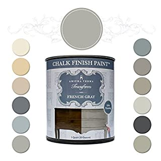 Amitha Verma Chalk Finish Paint, No Prep, One Coat, Fast Drying | DIY Makeover for Cabinets, Furniture & More, 1 Quart, (French Gray) by Amitha Verma