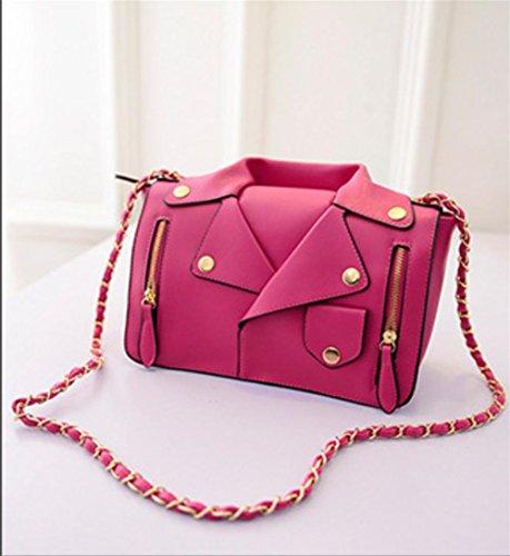 Yanx Signora Moda Pu Personalità Creativa Abbigliamento Catena Spalla Pacchetto Diagonale Rosa Rossa