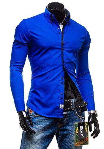 BOLF Herrenhemd Langarm Hemd Figurbetont Freizeit Klassisch Casual Business Bügelleicht Herren Men's Hochzeit Slim fit Modern Super Qualität 1721 Mittelblau-Schwarz