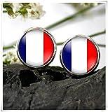 JUN Flagge von Frankreich Ohrstecker Ohrring Frankreich National Flagge Ohrring Dome Glas Schmuck, Pure Handgefertigt