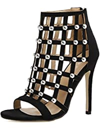 ZWME Mujeres Señoras Mid Low High Heel Rivet Strappy Cut Out Party Boda Prom Sandalias Zapatos Tamaño