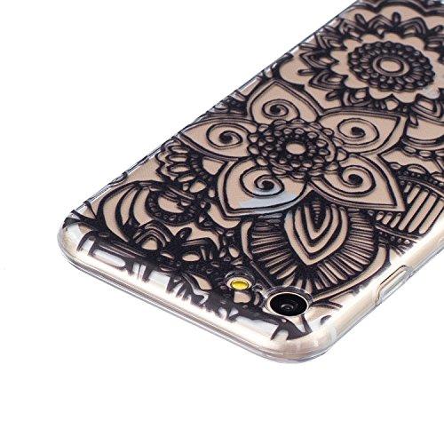 CaseHome iPhone 7 4.7'' Durchsichtig Silikon TPU Hülle Elegantes Stilvoll Hübsches Muster Druckte Entwurf (Mit freiem HD Schirm-Schutz) Gummi Silikongel Retro Klassiker Stoßstange Weicher Stoßdämpfer- Lotus