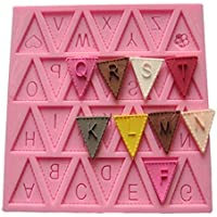 Vivin Lettera Bandiera Bunting silicone che decora cioccolato Muffa della torta del fondente cottura colore (Torta Set Decoration)
