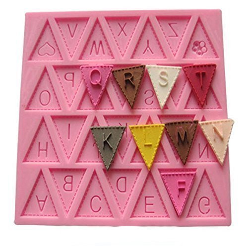 Vivin Brief Flagge Bunting Silikon Dekorieren Schokoladen-Kuchen-Form-Fondant-Backen - Rosa 4