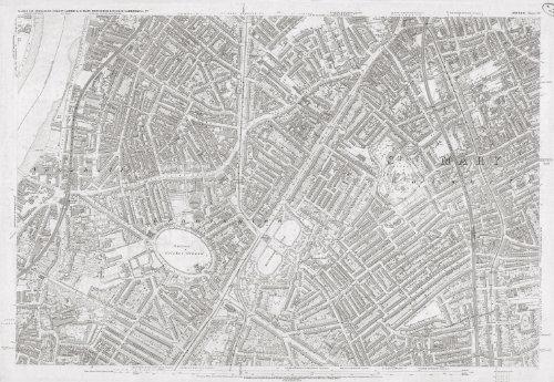 London 1872Ordnance Survey Karte Poster–Tabelle LV–Jati Kennington Gartenbank–Größe A1