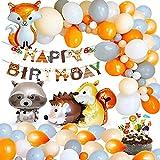 MMTX Jungle Décorations Anniversaire Garcon Enfant-Bannière Joyeux Anniversaire avec Feuilles de Palmier, Latex Ballons et Safari Forest Animaux Ballon pour garçon Anniversaire bébé Douche décor