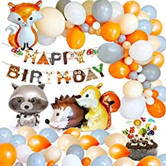 Idea Regalo - MMTX Animale Compleanno Festa Decorazione bambini Festoni, Banner di buon compleanno Palloncino in lattice 40 Palloncino Foil Animal per Ragazzo ragazza Baby Shower Di Bosco Compleanno