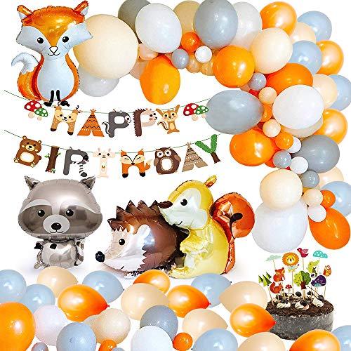 MMTX Geburtstag Dekoration Kinder Tier Wald, Alles Gute zum Geburtstag Banner 40 Latexballon mit Folien Tier ballon für Junge Mädchen Geburtstagsfeiern Kindergeburtstag Deko Party