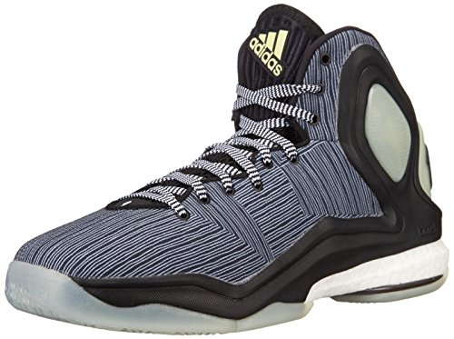 Adidas Performance D Rose 5 Boost scarpa da basket, Dark Base Verde, 11 M Us Black/White/Glow Yellow