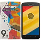 Annure Moto C Plus Tempered Glass screen protector [ Oil and Dust proof] [100% transparency]