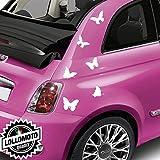 Kit 12 Pz Farfalle Adesive Stickers Fiancate Auto Decal Intagliati - Bianco Opaco