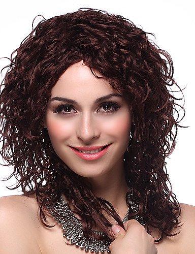 tapón sintético de alta calidad a largo rizado pelucas de