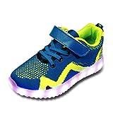 Kinder Schuhe mit Licht LED Schuhe Mesh 7 Farbe USB Aufladen Leuchtend Sportschuhe LED Kinder Farbwechsel Sneaker Turnschuhe Für Mädchen Jungen Blau 35