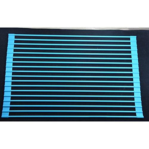 LJXiioo Edelstahl-Silikon-Abflussregal, 18 Root Square Küche Storage Frame Filter Bowl Stand (52 * 32 * 7cm),Blue,2pcs -