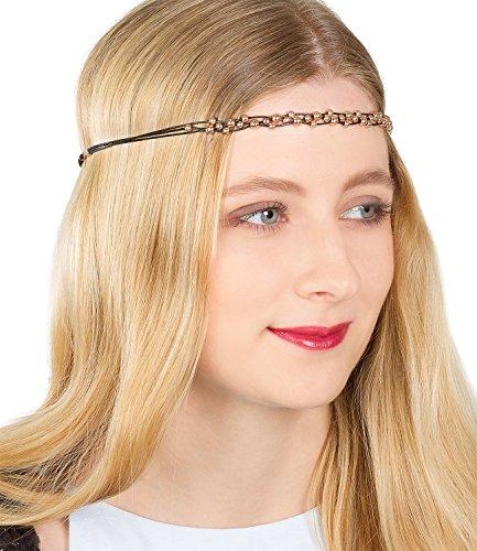 SIX Festival elastisches schwarzes Damen Haarband aus drei Textil Leder Bändern mit rose goldenen Perlen, Kopfband, Kopfkette, Kopfschmuck (456-367)