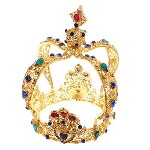 Fenteer Retro Stil Strass Hochzeit Braut Prinzessin Diadem Krone Tiara Barock Kopfstück Karneval Fasching Kostüm - Multi Gold