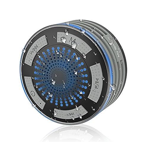 MoKo Enceinte Bluetooth, Haute-Parleur Sans Fil dans la Salle de Bain, Etanche et Antichoc, avec la Lumière LED de Multicouleurs un Batterie Rechargeable et une Ventouse Forte, Mains Libres, GRIS