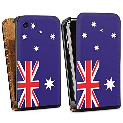 Apple iPhone 4 Housse Étui Protection Coque Australie Drapeau Ballon de football Sac Downflip noir
