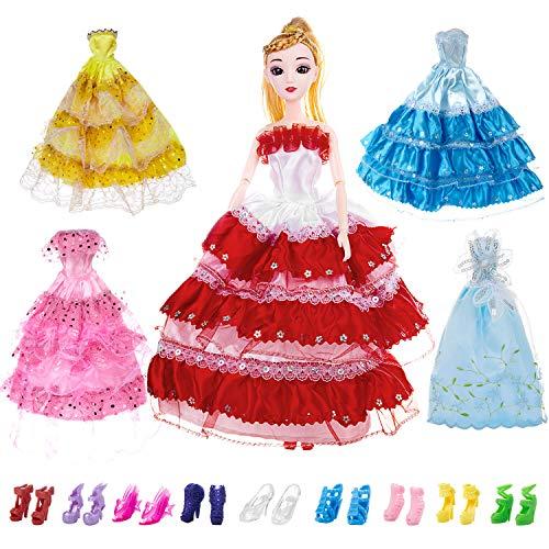 Comius Bekleidung & Schuhe für Modepuppen, Handarbeit Modisch Hochzeit Party Abendkleid Kleider Kleidung für Barbie Puppe Weihnachten Geschenk Kindertag