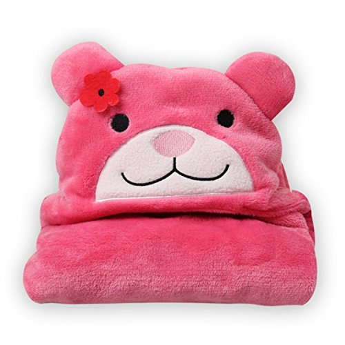 BRANDONN UltraSoft Extra Large Hotpink Premium Supersoft Cute Catty Hooded Wrapper / Bathrobe(Hotpink Cute Catty)