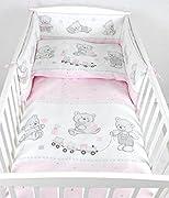 BABYLUX Bettwäsche Bezug 2 Tlg. 100 x 135 cm Kinderbettwäsche Bettwäsche Bettset Babybettwäsche BÄREN (71. Bär Cookie Rosa)